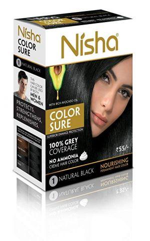 Крем-краска для волос безаммиачная, 1.0 - черная Nisha Color Sure Hair Color Natural Black