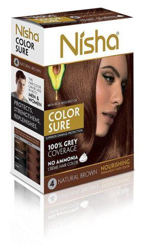 Крем-краска для волос безаммиачная, 4.0 - коричневая Nisha Color Sure Hair Color Natural Brown