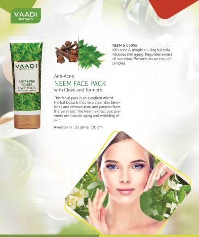Маска для лица от угревой сыпи с Нимом Vaadi Anti Acne Neem Face Pack