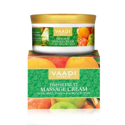 Крем массажный Свежие фрукты с яблоком, папайя и маслом кокума Vaadi Fresh Fruit Massage Cream with Apple, Orange, Papaya & Kokum Butter