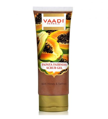 Гель-скраб очищающий Папайя Vaadi Papaya Fairness Scrub Gel With Honey & Saffron