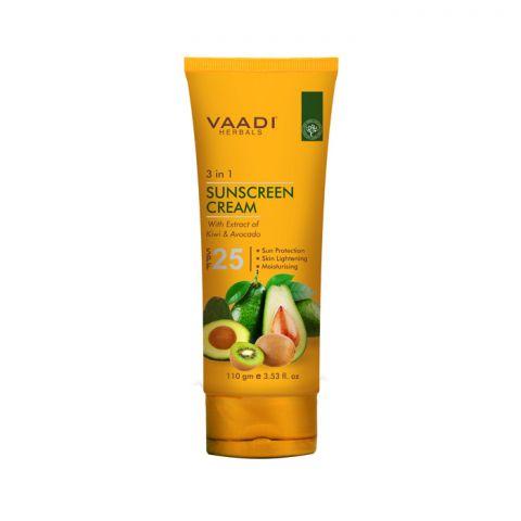 Крем для лица и тела солнцезащитный SPF 25 с киви и авокадо Vaadi Sunscreen Cream SPF-25 with Extracts of Kiwi & Avocado